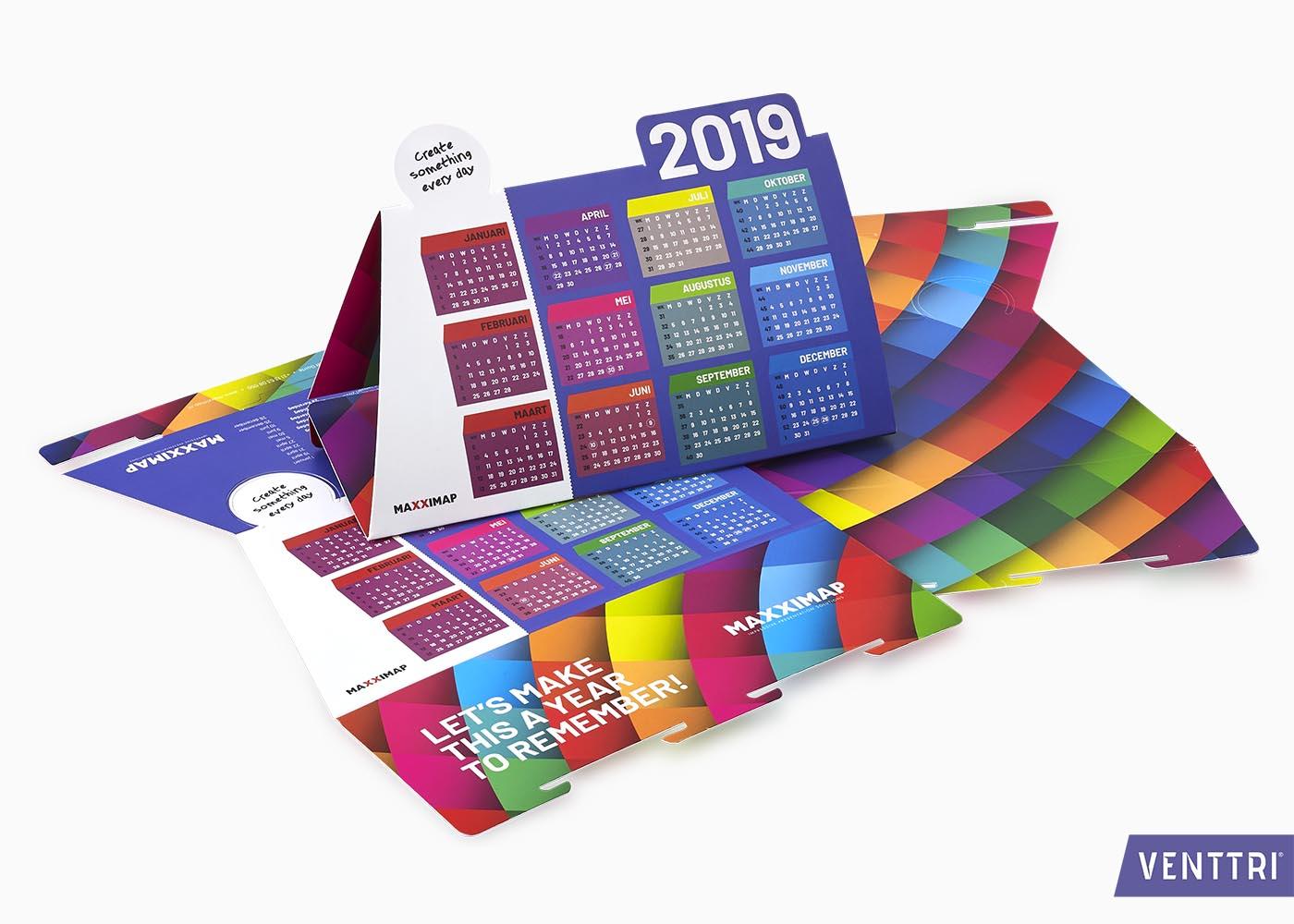 Kleurrijke kalender 2019 2