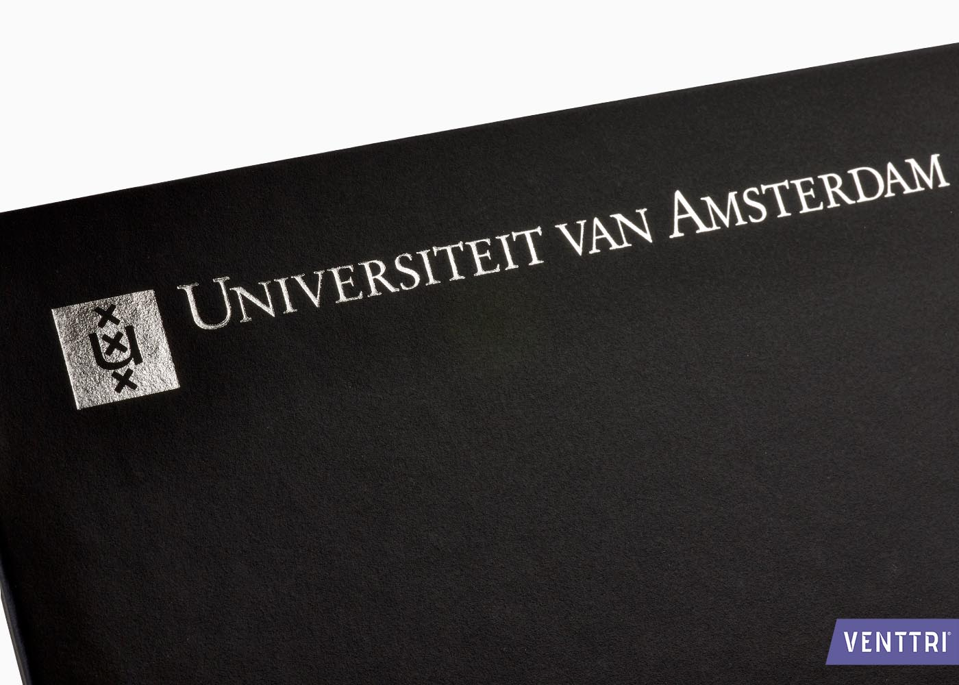 Diplomamap met foliedruk zilver
