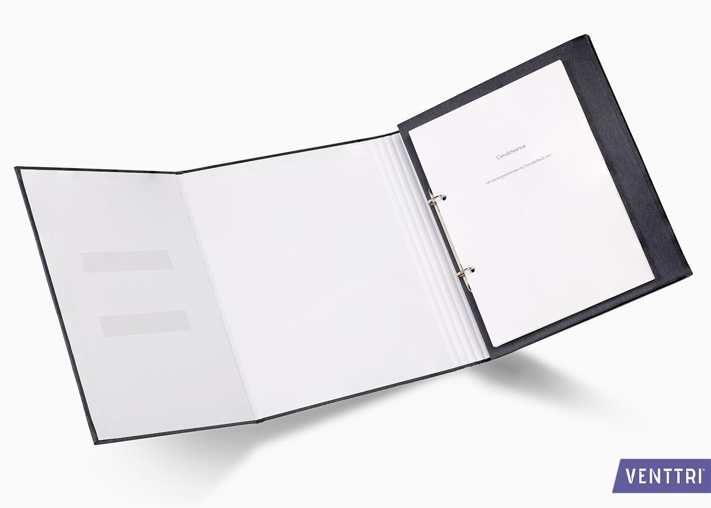 Condolence folder black metallic